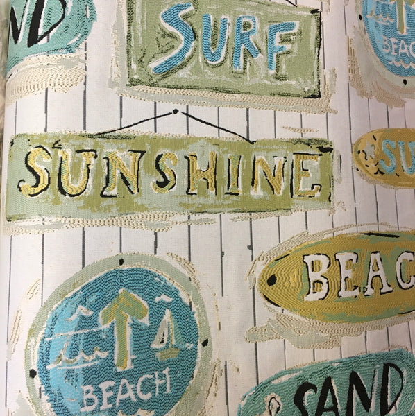 """Sarasota Seabreeze"" Beach Theme Performance Fabric - Sold By The Yard"