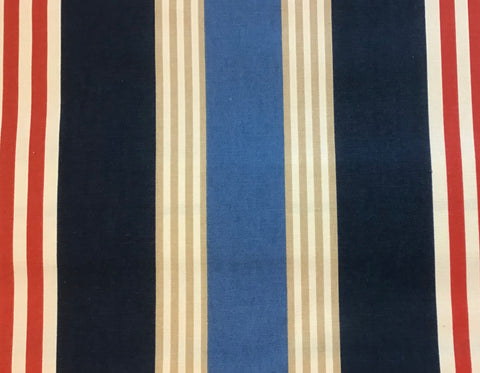 """Nautical Red White Blue Khaki Stripe"" 100% Ctn, Sold By The Yard"