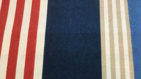 """Nautical Red White Blue Khaki Stripe"" Sold By The Yd"