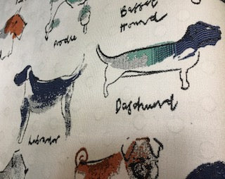 """Puppy Love Mint""  Woven Dog Print Fabric - Sold By The Yard"