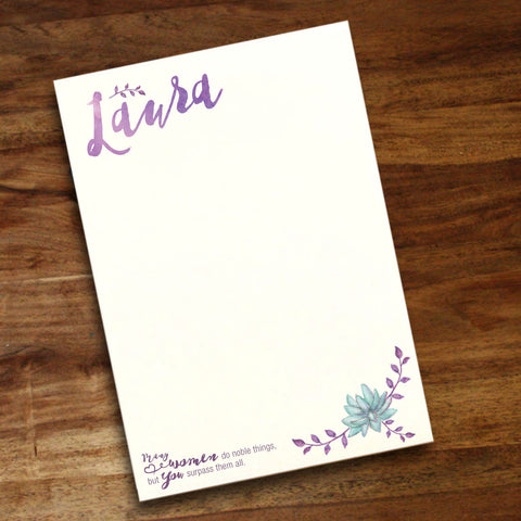 "Personalized 5.5"" x 8"" Notepad - Noble things"