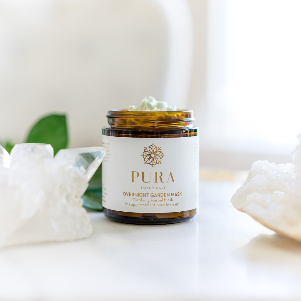 Overnight Garden Mask Clarifying Herbal Face Mask for acne prone and sensitive skin made by Pura Botanicals