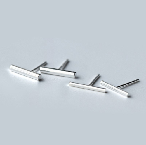 Minimalistic Edge Sterling Silver Earrings