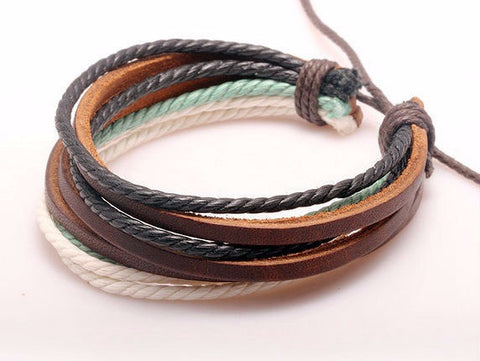 Braided Leather Wrap Bracelet