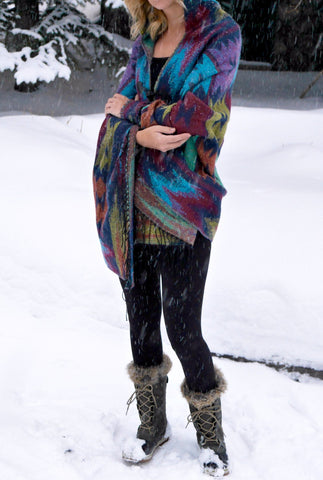 Jade Hooded Wrap Poncho