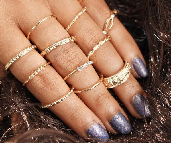 Live By The Sun Midi Ring Set