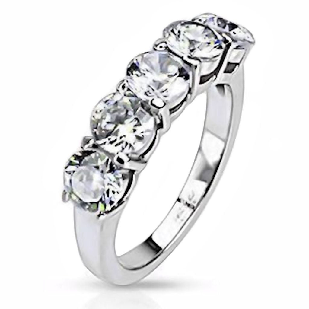 25c 5 Stone Russian Ice CZ 316 Steel Wedding Anniversary Ring