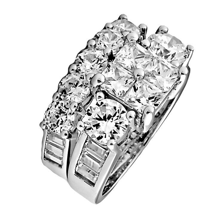 Vanessa 815ct Ice On Fire CZ 2 Piece Wedding Ring Set Sterling Silver