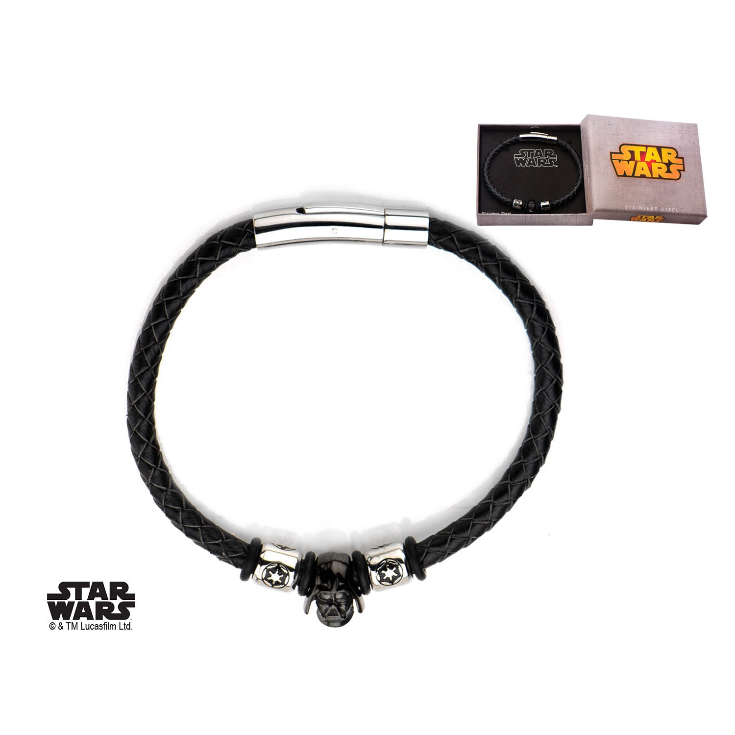 Star wars darth vader and galactic empire symbol braided leather star wars darth vader and galactic empire symbol braided leather bracelet steel 1000jewels biocorpaavc Images