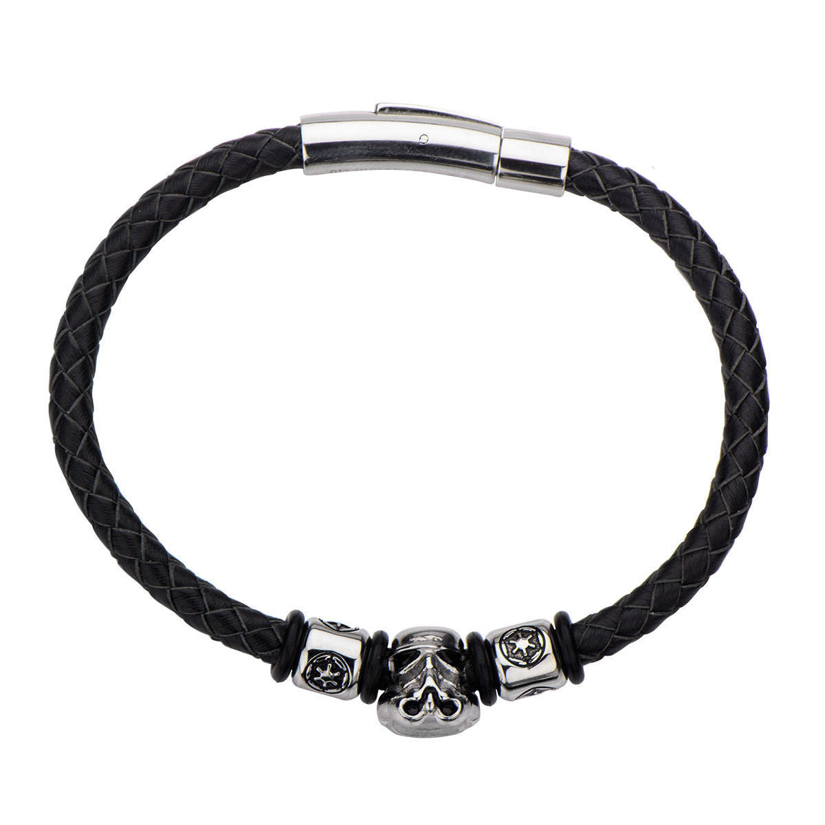 Star wars stormtrooper galactic empire symbol braided leather star wars stormtrooper galactic empire symbol braided leather bracelet steel 1000jewels biocorpaavc Images