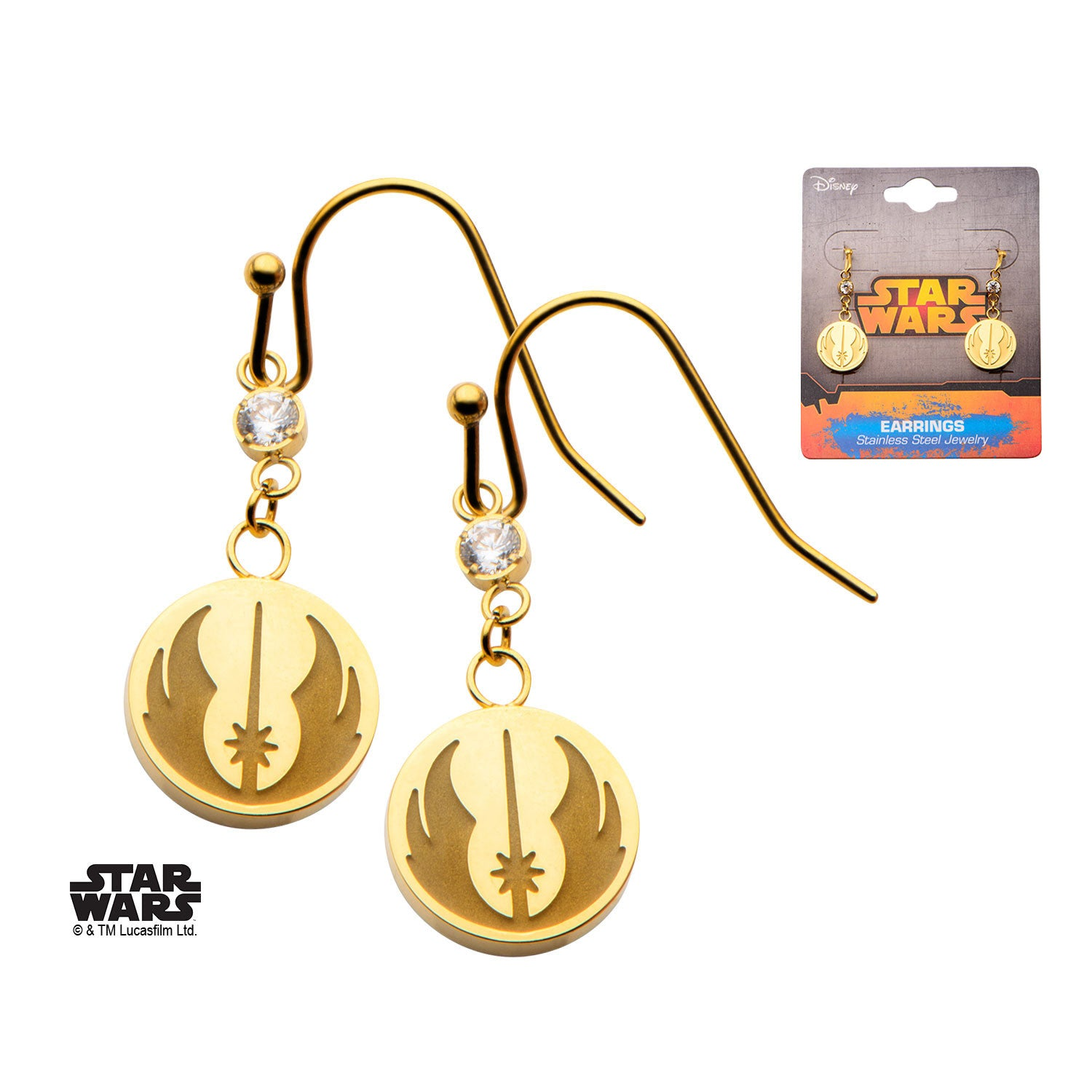Star Wars Gold Pvd Plated Jedi Order Symbol With Cz Hook Dangle