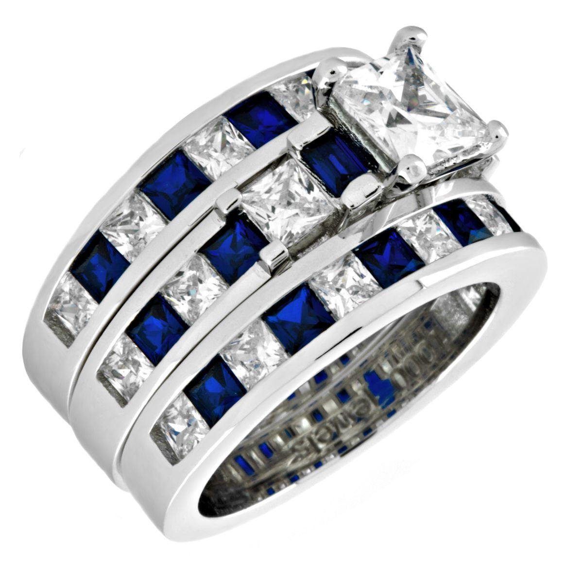 wedding unique silver leaf engagement diamond sapphire design ring sterling set white products