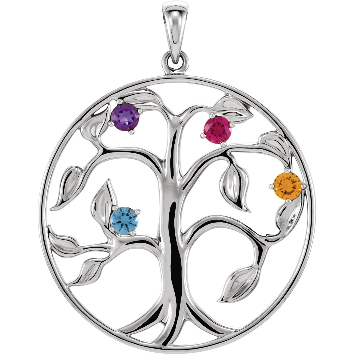 Custom design family tree of life pendant gold silver or platinum custom design family tree of life pendant gold silver or platinum 4 stone aloadofball Image collections