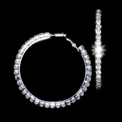 shop for official best deals on select for genuine 37mm Swarovski Crystal Rhinestone Spring Click-Lock Hoop Earrings