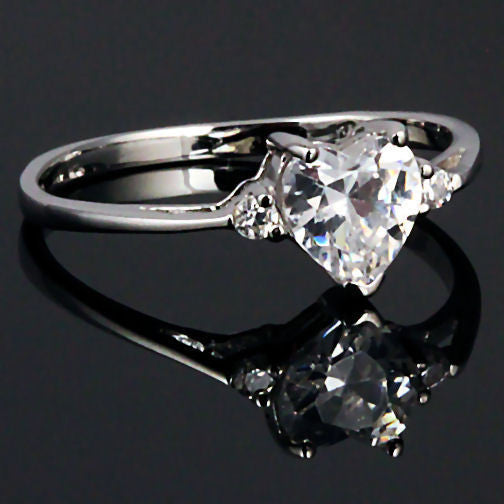 Cassie 081ct Heart Cut Ice On Fire CZ Promise Friendship Ring