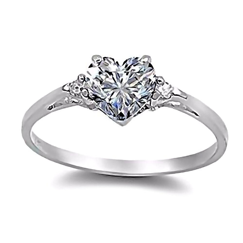 Cassie: 0.81ct Heart Cut Ice on Fire CZ Promise Friendship Ring ...
