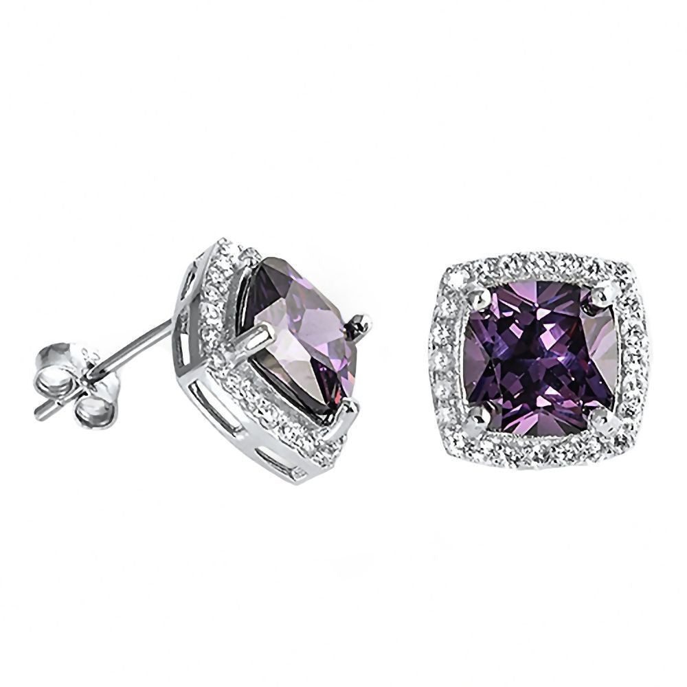 square cushion Amethyst Gemstone Earring
