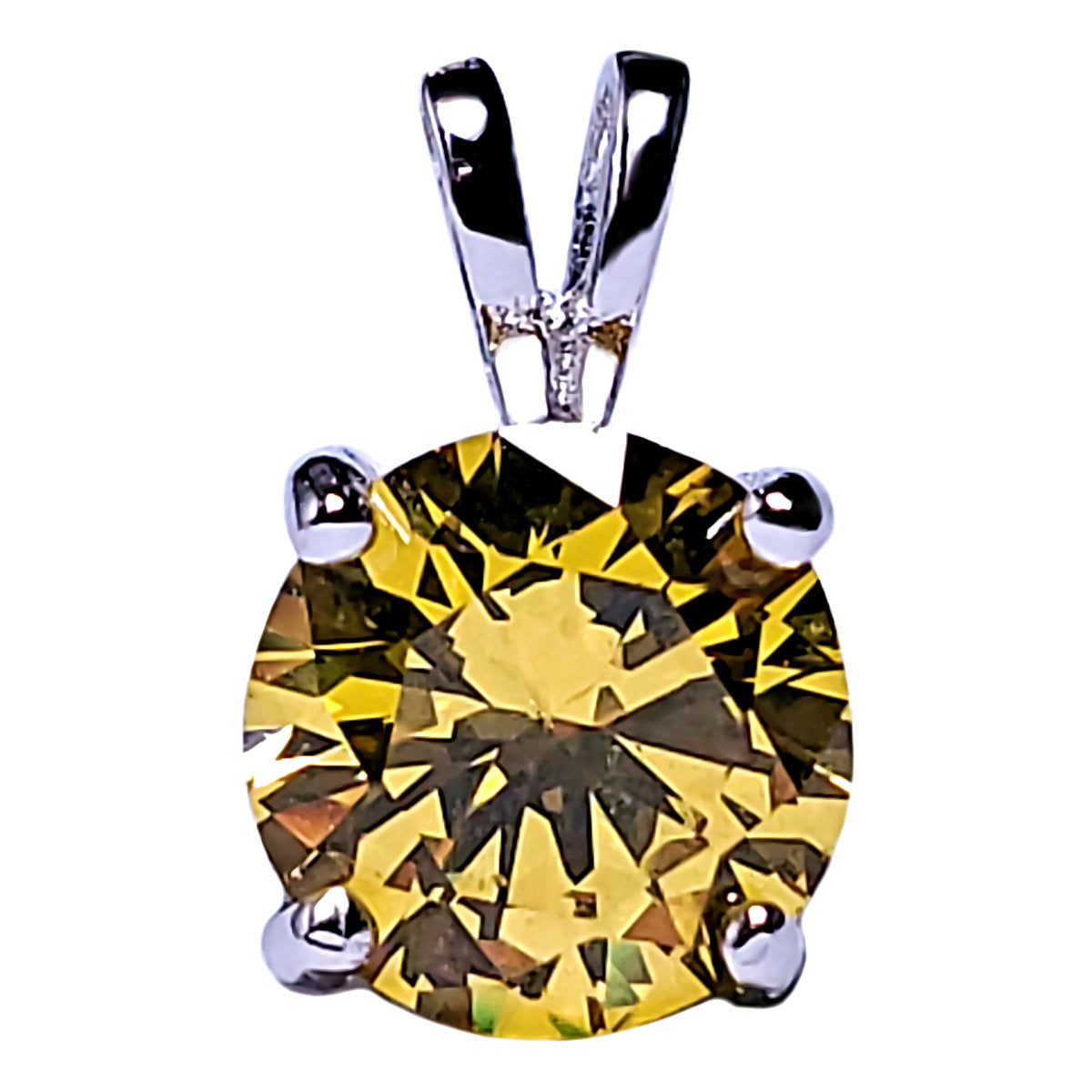 7mm Brilliant Cut Simulated Citrine Ice CZ Solitaire Pendant Sterling Silver - 1000Jewels.com