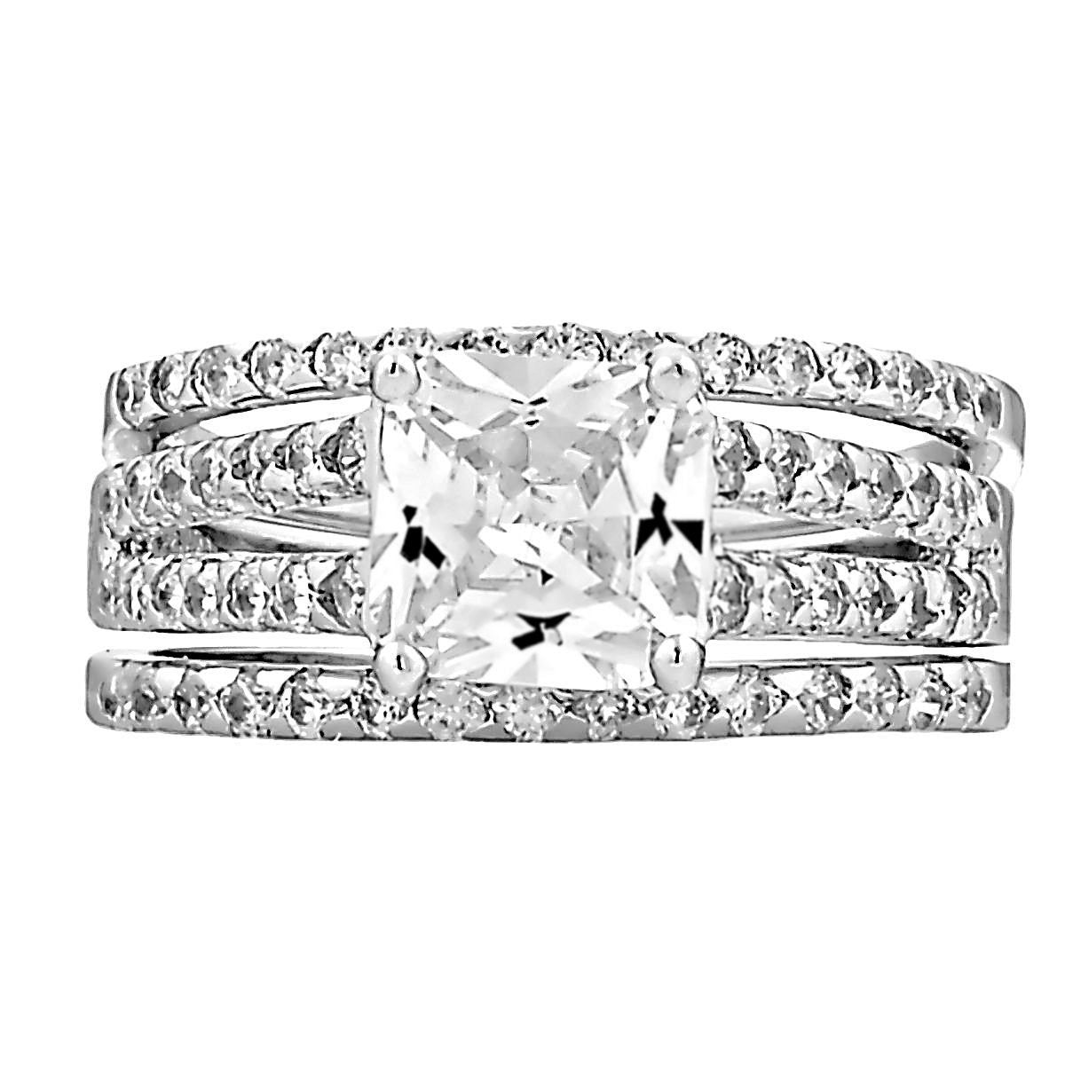 s princes women white sapphire princess rings silver wedding cut bands sterling