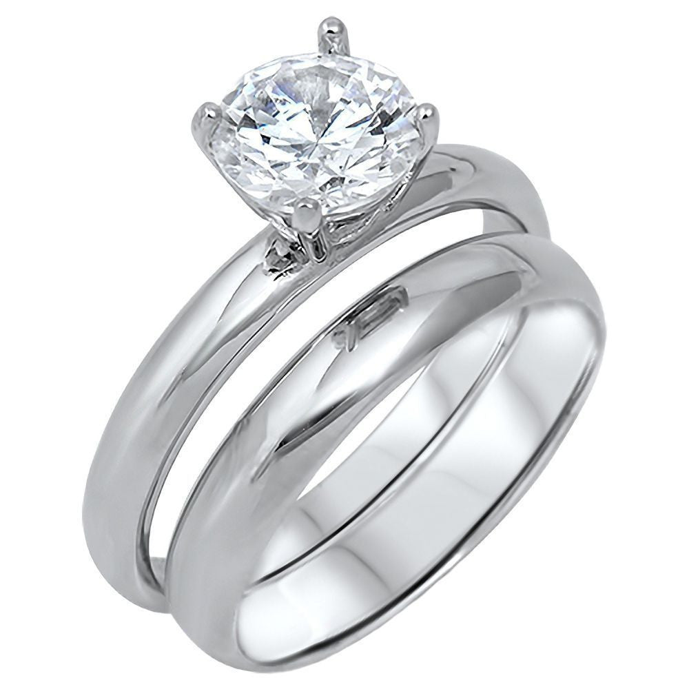 Aderes 20ct Russian Ice On Fire CZ 2 Pc Wedding Ring Set 925 Silver