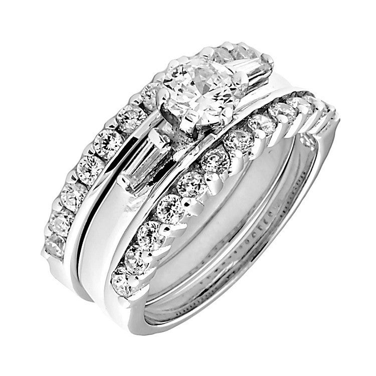 19ct 3 Piece Stacked Ice on Fire CZ Wedding Ring Set 1000Jewelscom