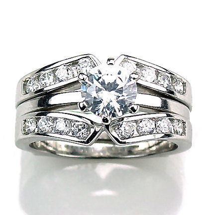 holly 22ct ice on fire cz wedding set with ring guard sterling silver - Wedding Ring Guards