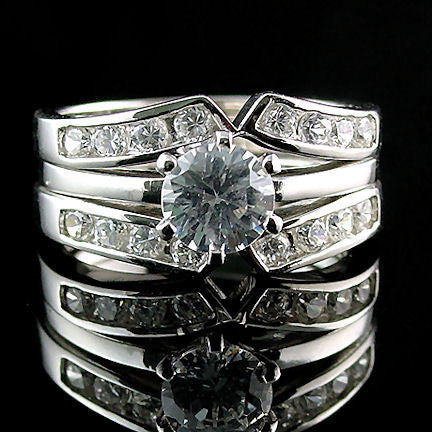 Cz Wedding Sets.Holly 2 2ct Ice On Fire Cz Wedding Set With Ring Guard Sterling Silver