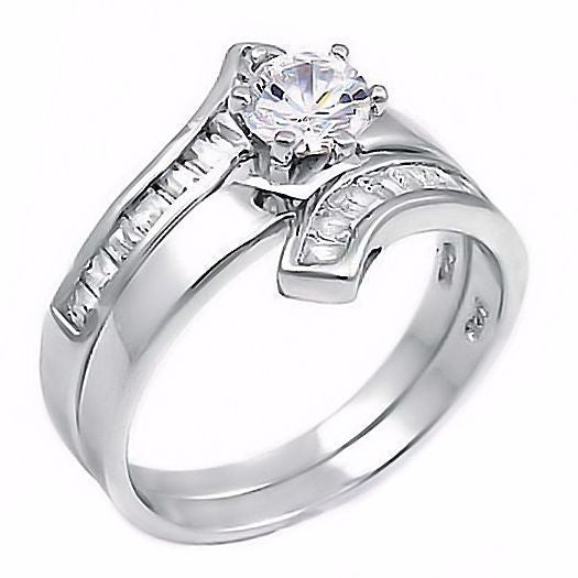 Caprina 18ct Flared Bypass Russian Ice On Fire CZ Wedding Ring Set