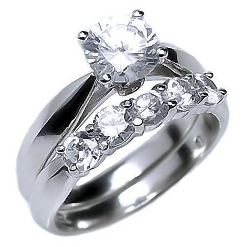 arizona 21ct ice on fire russian cz womens wedding ring set 1000jewelscom - Womens Wedding Rings