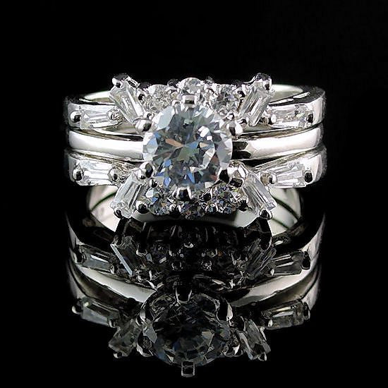 Emma 2 0ct Simulated Diamond Cz Wedding Set With Ring Guard