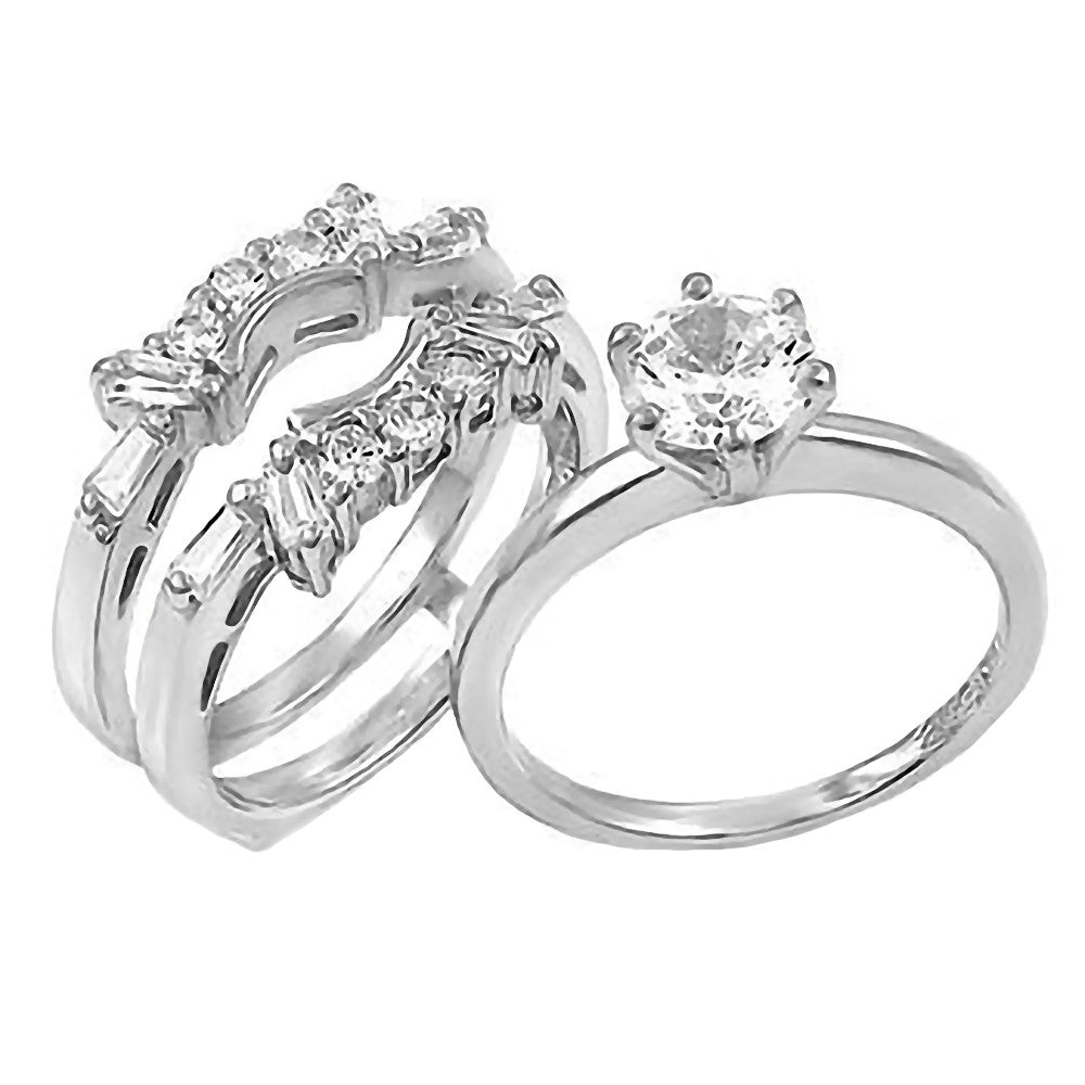 emma 20ct simulated diamond cz wedding set with ring guard 1000jewelscom - Wedding Ring Guards