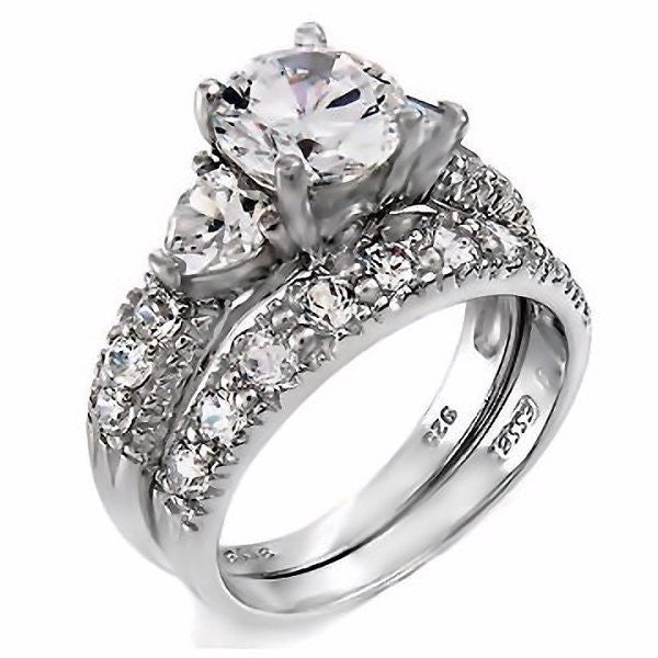 oliana stunning 412ct russian ice on fire cz 2 piece wedding ring set - 2 Piece Wedding Rings