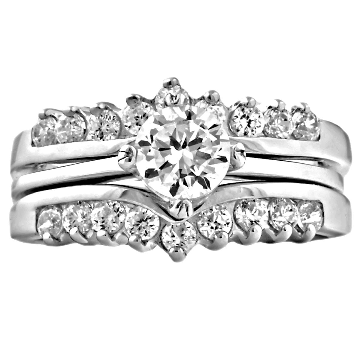 Princess Christina Ice on Fire CZ Wedding Ring Set with Ring
