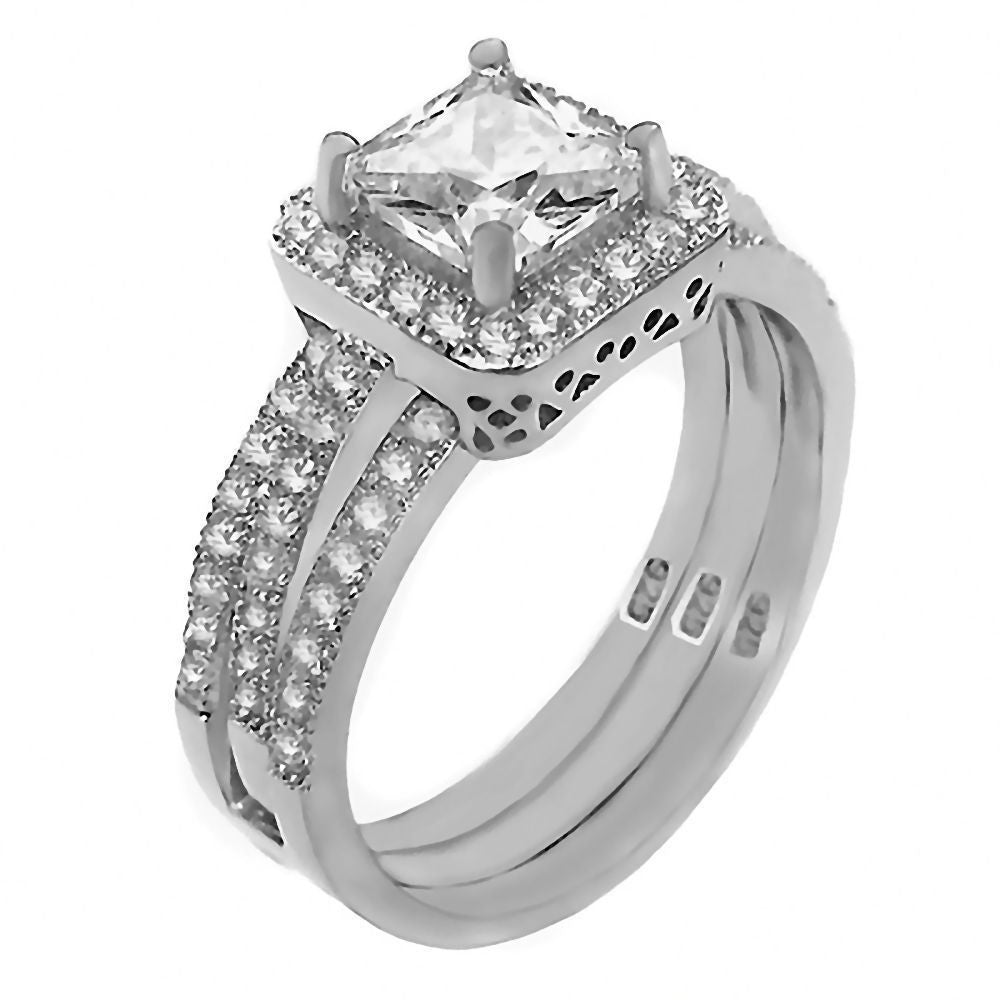 Bebe 169ct Russian Iof Cz 2 Pc Wedding Ring Set With Guard 1000jewels: 2 Pc Wedding Ring Sets At Reisefeber.org