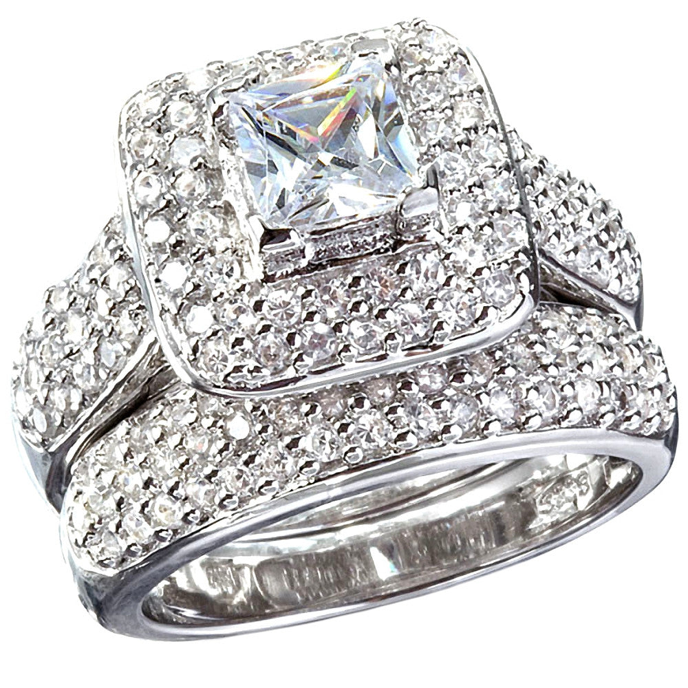 Adriannis Russian Ice On Fire Simulated Diamond Wedding Ring Set