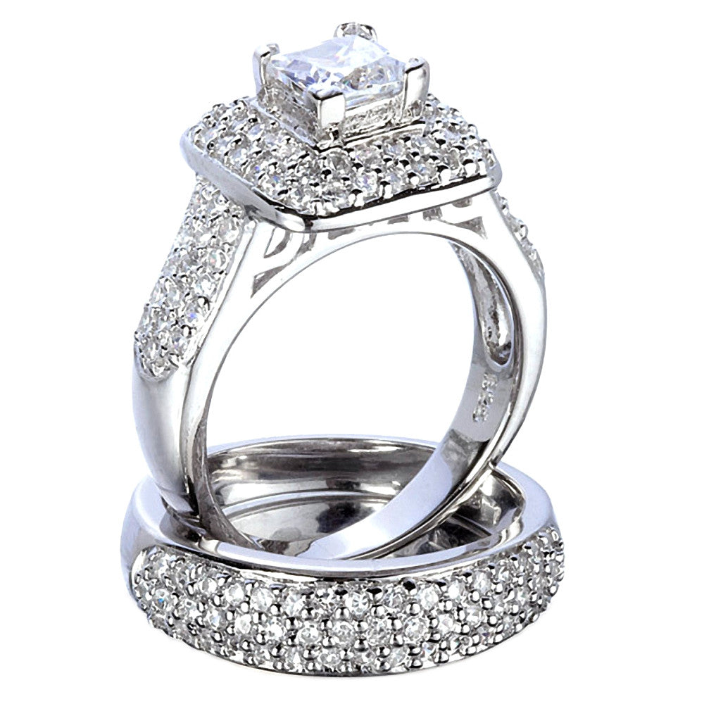 russian ice on fire simulated diamond wedding ring set
