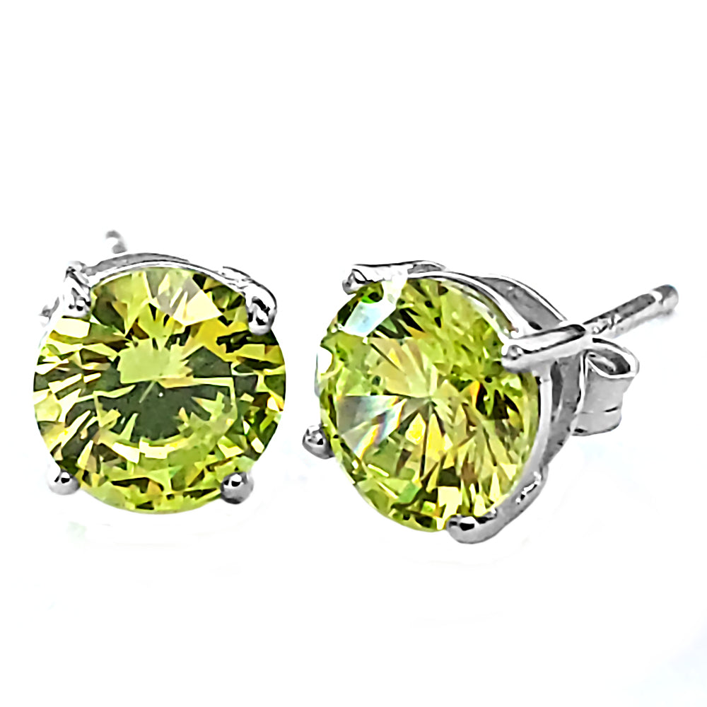 Details about  /1000 Jewels 5mm Brilliant Cut Simulated Peridot Sterling Silver Stud Earrings