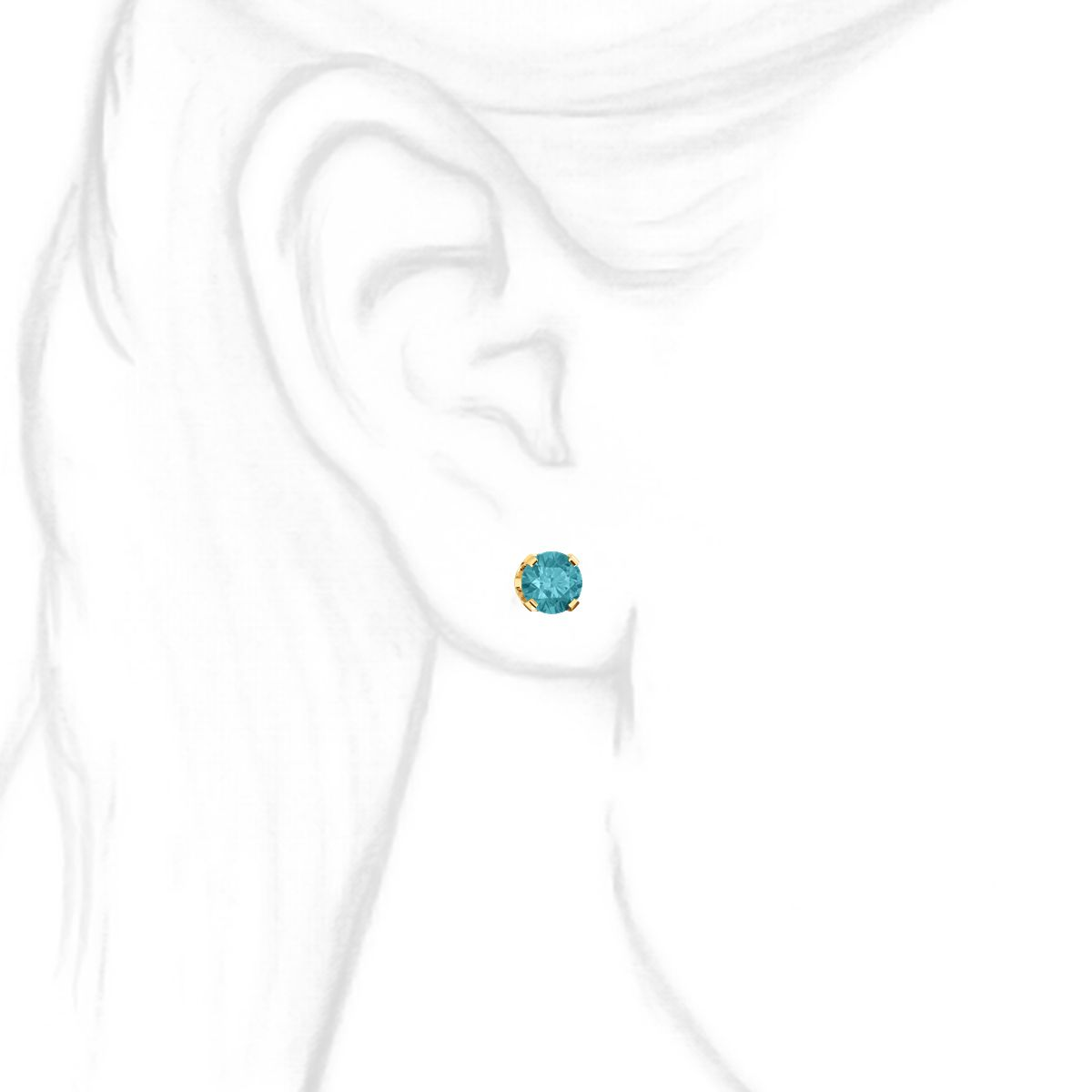 ed1a6f9e8 6mm, 1.5cts Simulated Blue Zircon 4-Prong Stud Earrings 14K Yellow Gold ...