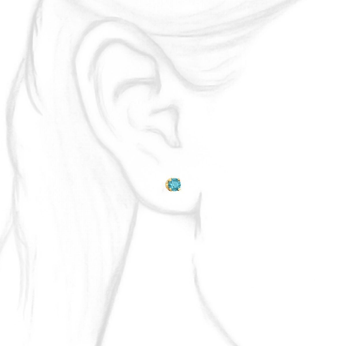 4mm 05cts Genuine Natural Blue Zircon 4 Prong Screw Back Stud Yellow Earrings 14k
