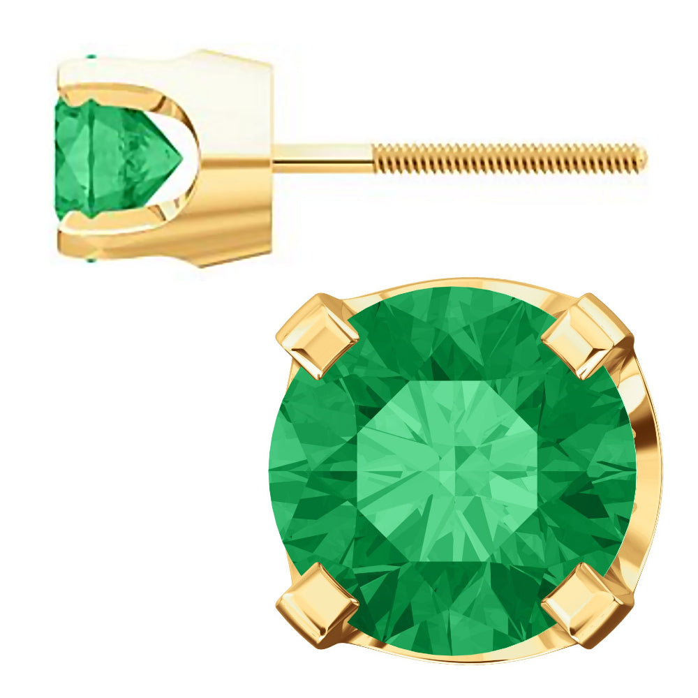 7fd60a5a1 ... 5mm, 1.0cts Chatham Created Emerald 4-Prong Screw Back Stud Earrings  14K Yellow ...