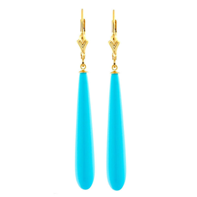 c48006496 35mm Sleeping Beauty Turquoise Lever Back Earrings 14-20 Gold Filled -  1000Jewels.com
