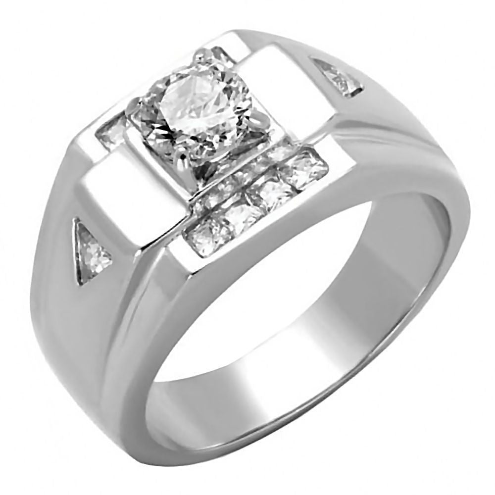 Mens 165ct Russian Ice on Fire CZ Solitaire Design Ring