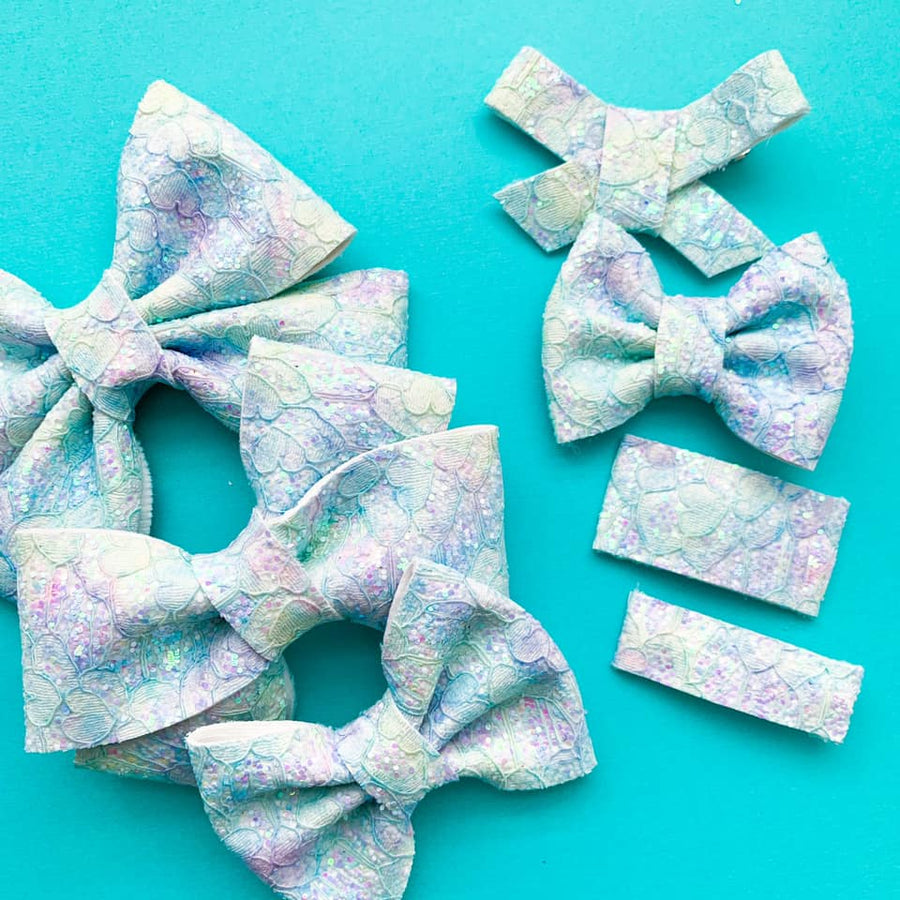 Mermaid Vibes Glitter Lace Bow