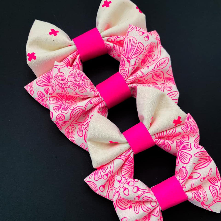 Neon Pink Floral Bow