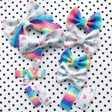 Rainbow Polka Dot Glitter Bow