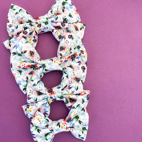 Autumn Watercolor Floral Bow