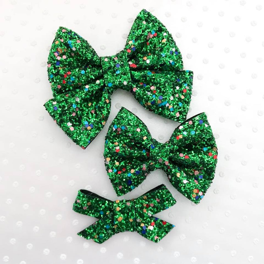 Christmas Tree Lights Glitter Bow
