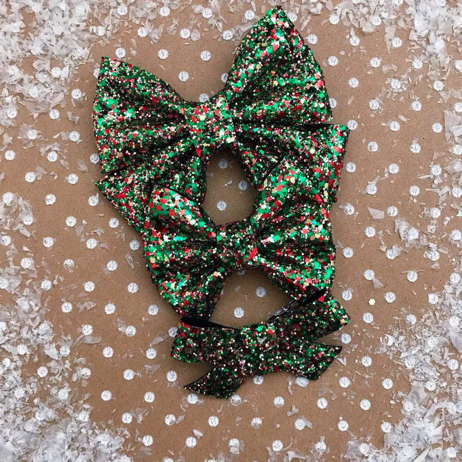 Christmas Morning Glitter Bow