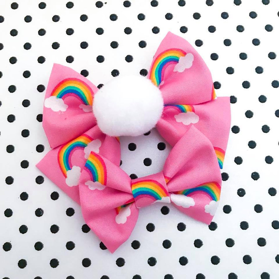 Puffy Cloud Rainbow Bow
