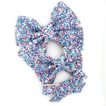 Red White Blue KABOOM Glitter Bow
